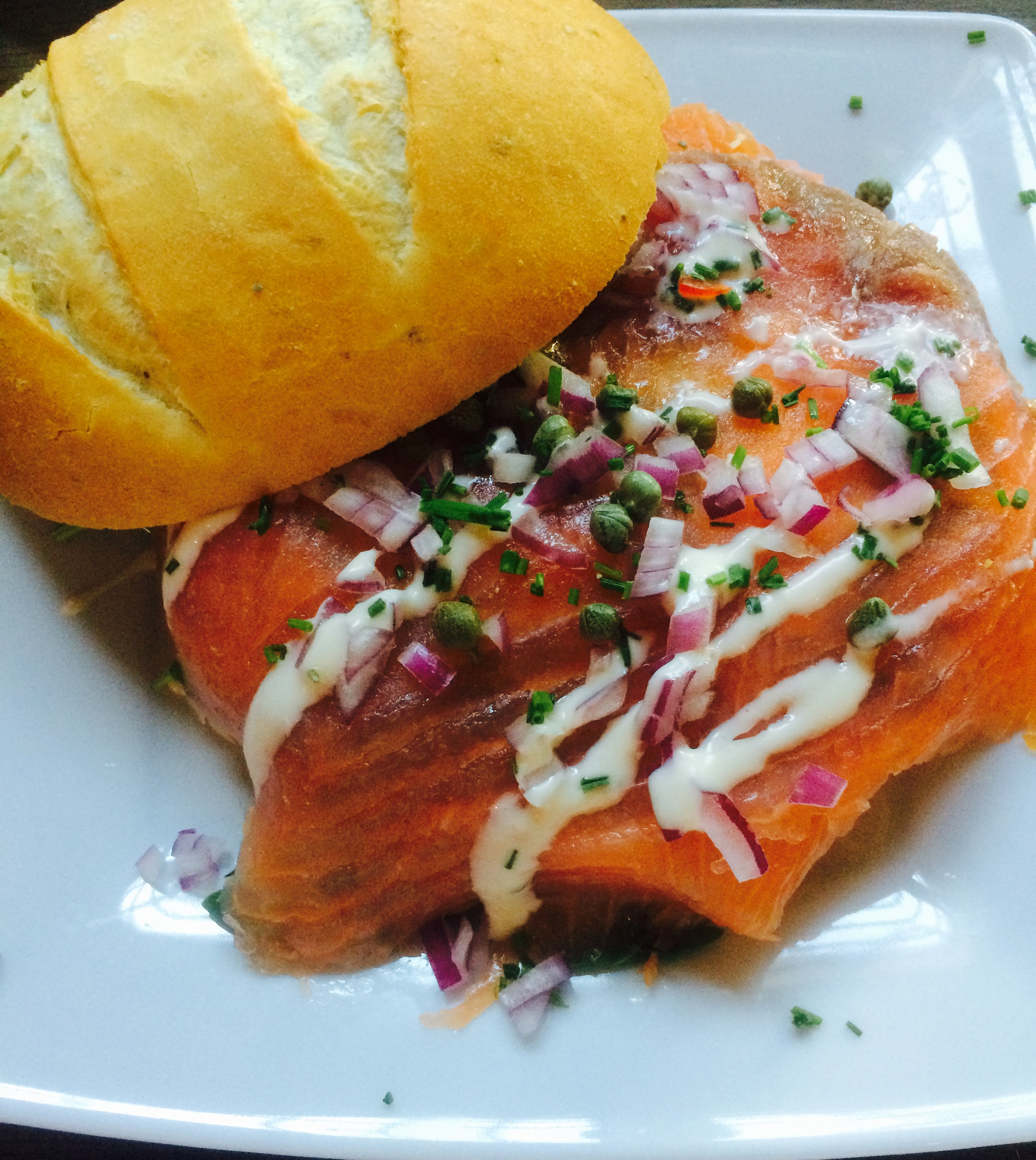 Smoked Salmon Sandwich with red onions, chives, capers, and sliced ...