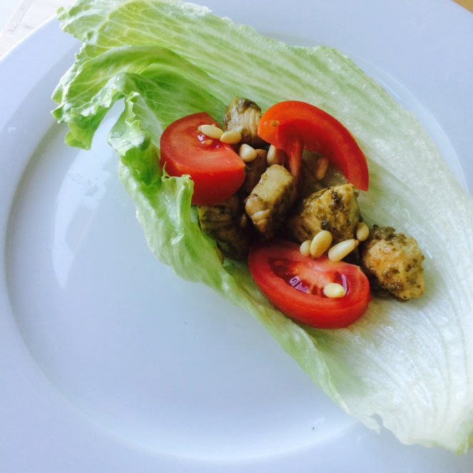chicken pesto lettuce wrap