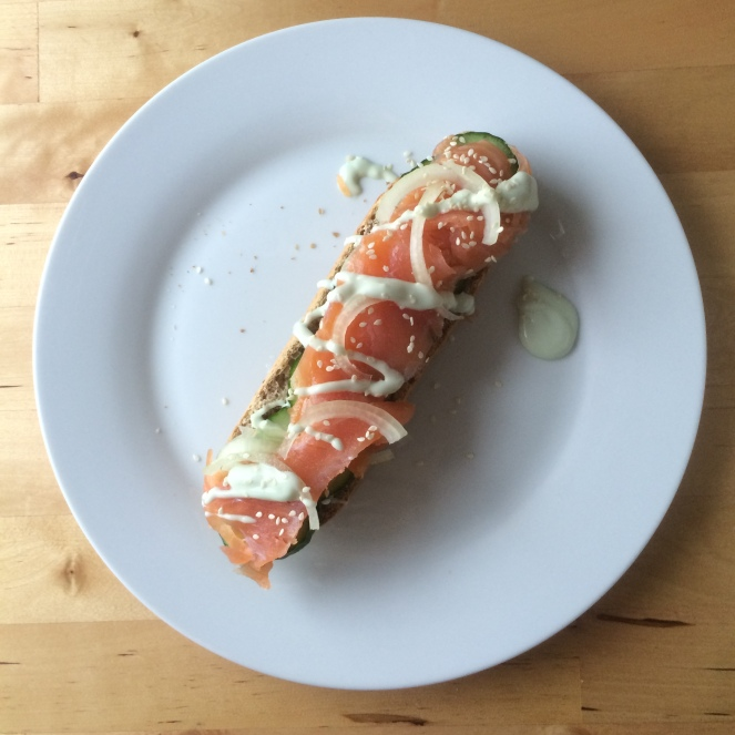 smoked salmon wasabi mayo sandwich